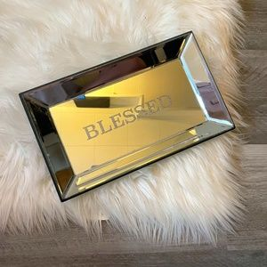"""""""Blessed"""" Silver Mirror Rectangle Tray"""